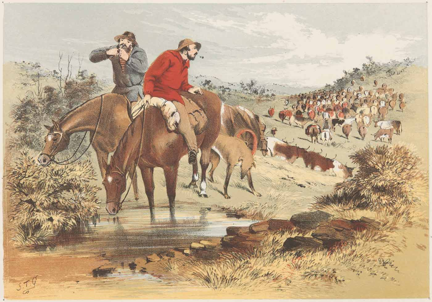 Watercolour painting of two men on horseback with their dog beside them. One man is looking back over his shoulder towards a large herd of cattle and drovers in the distance. - click to view larger image