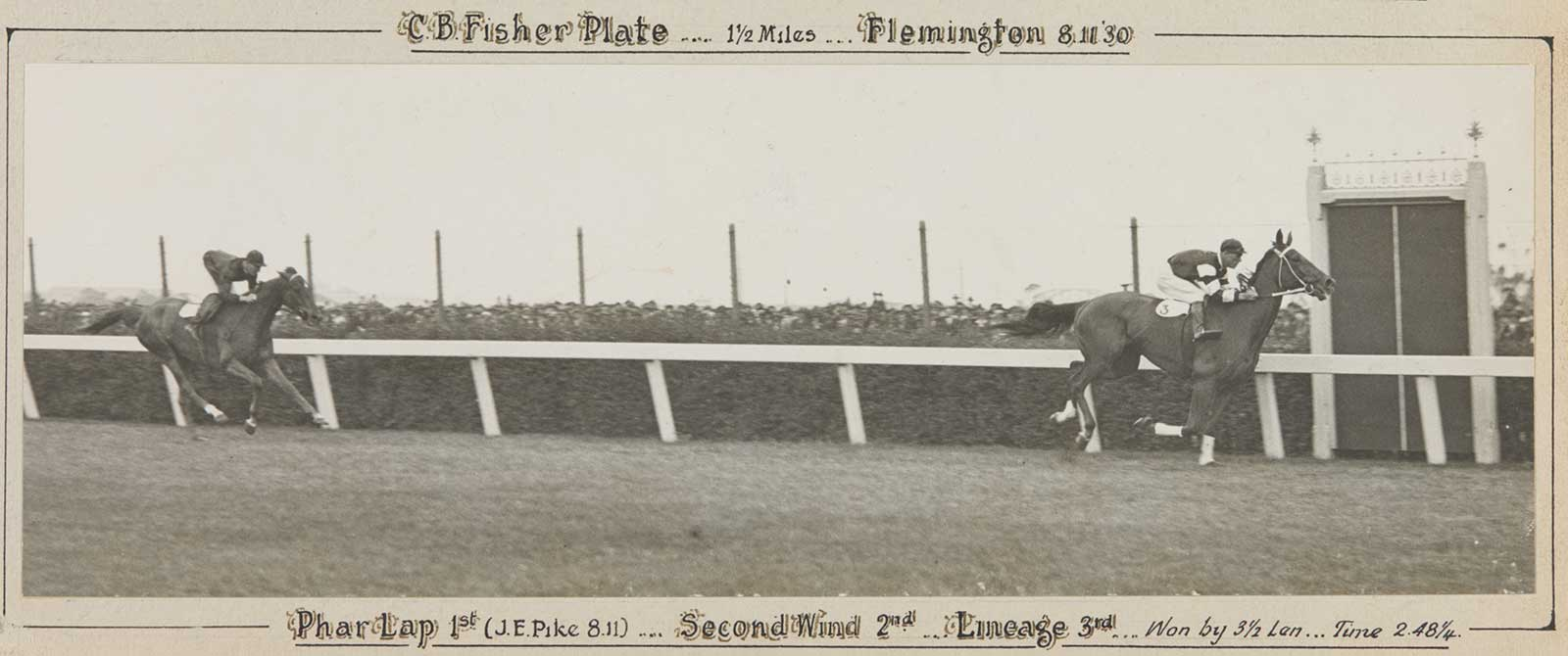 A black and white photo of Phar Lap winning the CB Fisher Plate, 1930. - click to view larger image
