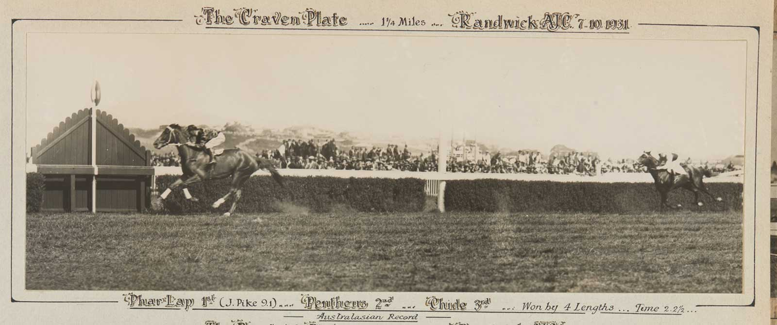 A black and white photo of Phar Lap winning the Craven Plate, 1931. - click to view larger image