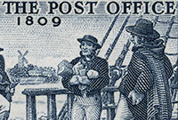 Stamp shows main in top hat boarding ship with Sydney town in the background. Two sailors are waiting. Text reads Birth of the Post office 1809