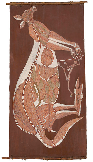 An Aboriginal bark painting depicting a kangaroo.