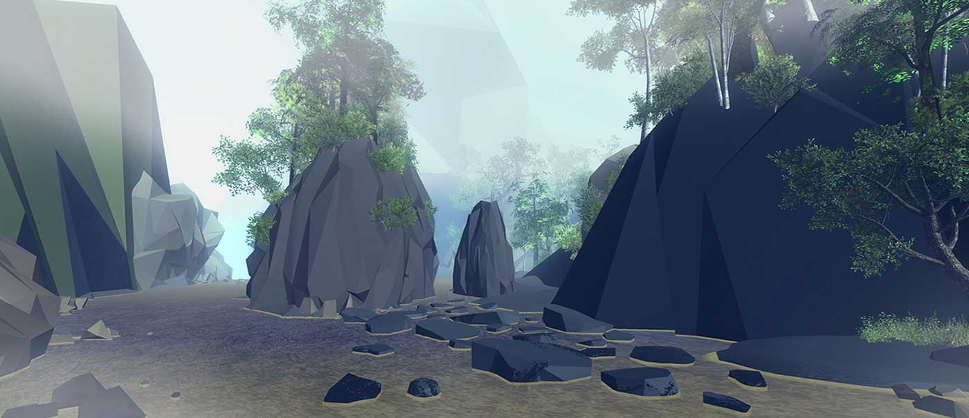 An artistic impression of a landscape depicting rock formations and foliage