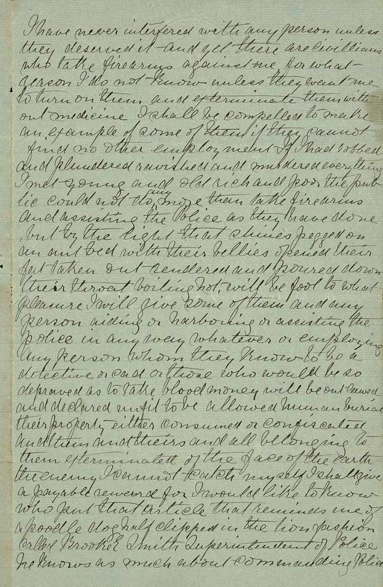 Page thirty three of Ned Kelly's Jerilderie letter. - click to view larger image