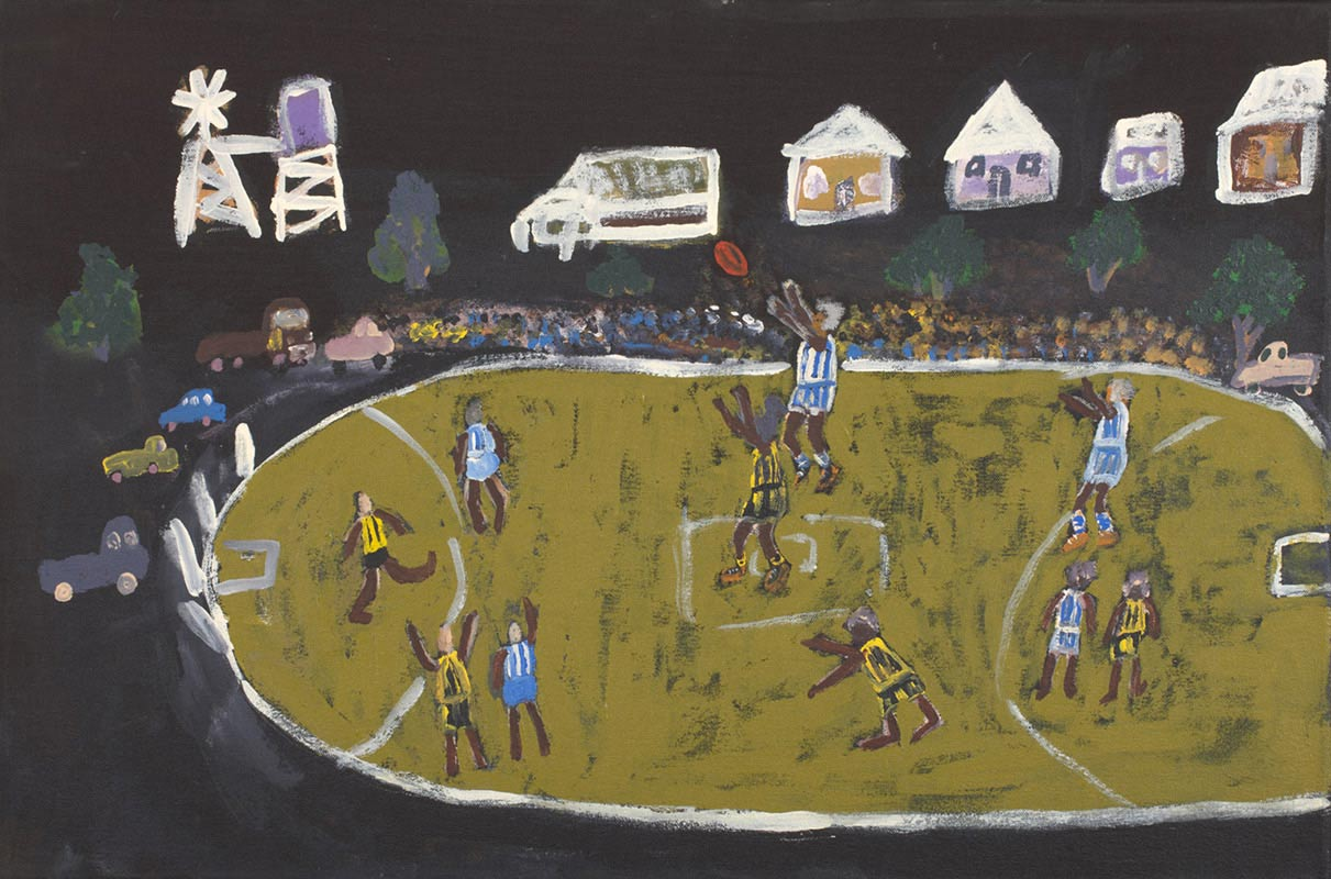An acrylic painting on canvas showing a football match on a green oval against a dark background. - click to view larger image
