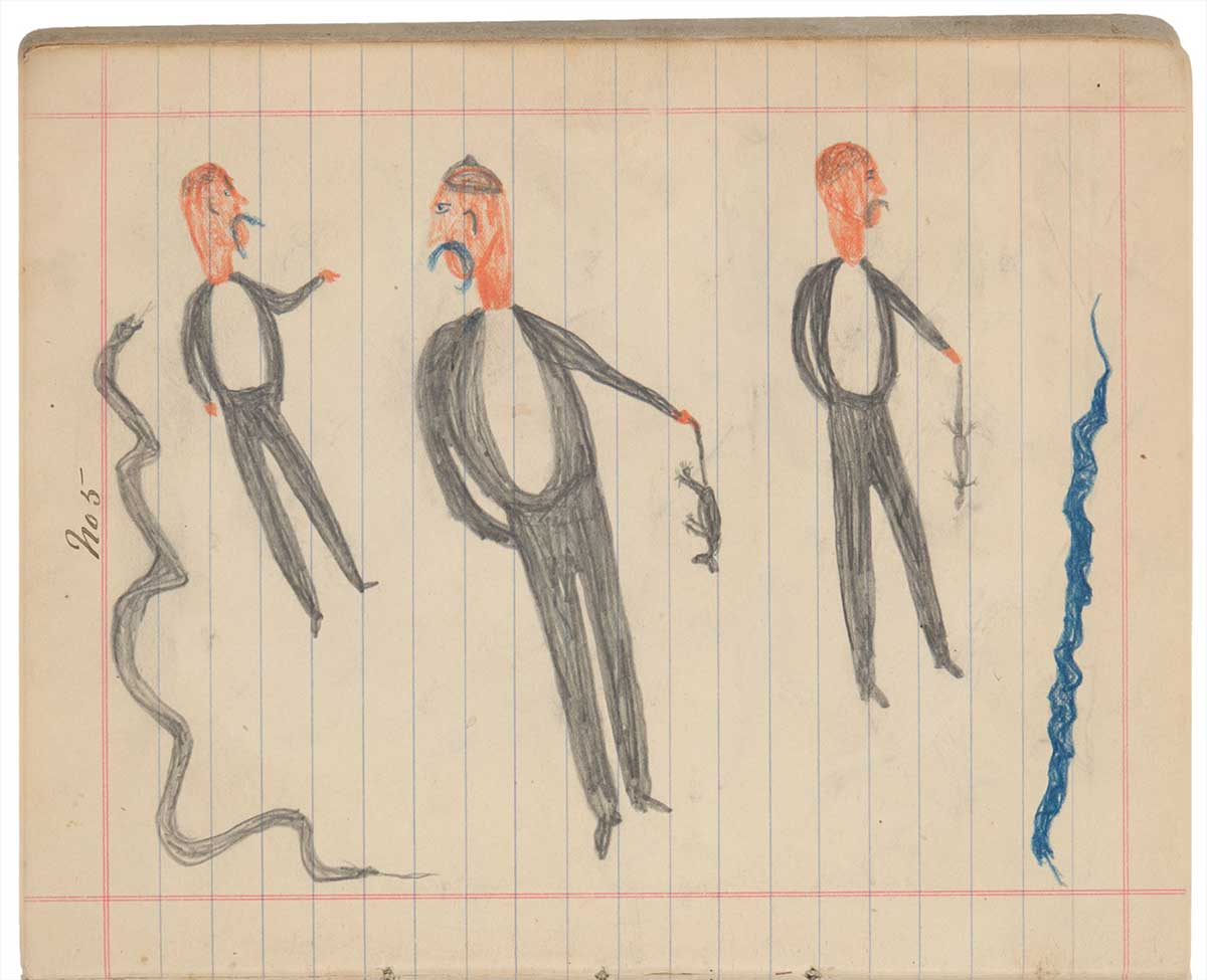 Sketchbook drawings of three figures, two holding dead animals. Either side of the figures are long snakes. - click to view larger image
