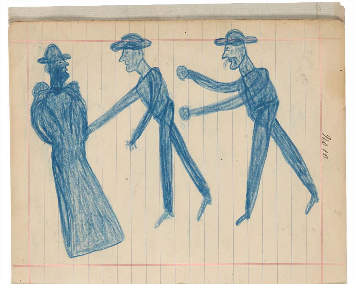 Sketchbook drawings of three blue figures  - click to view larger image
