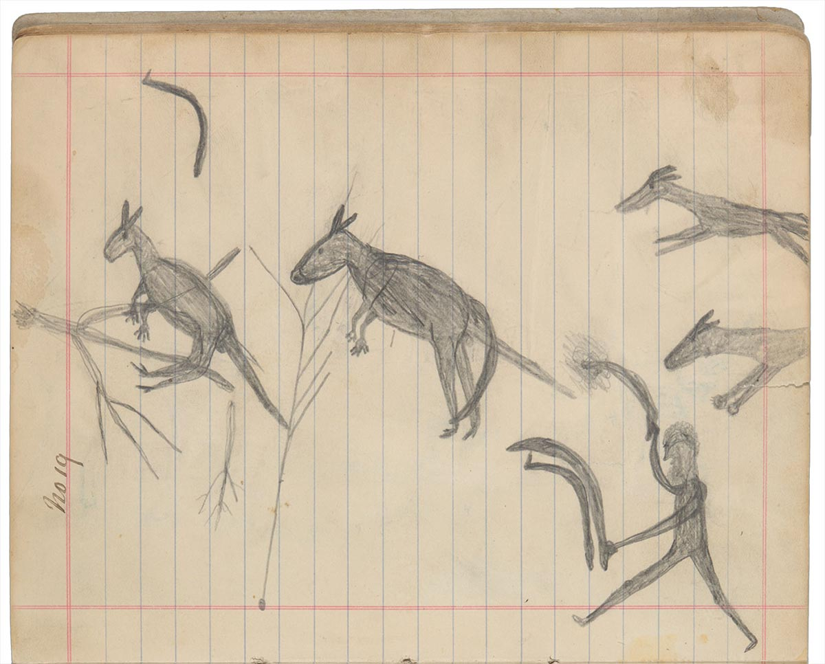 Sketchbook drawings of two kangaroos being hunted by a figure and two dogs - click to view larger image