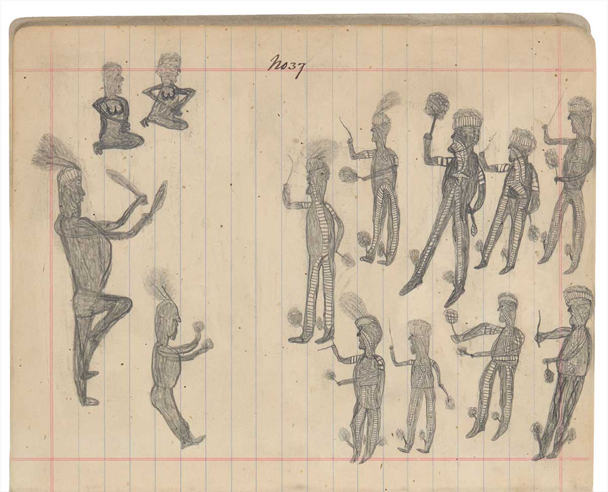 Sketchbook drawing of Indigenous ceremony - click to view larger image