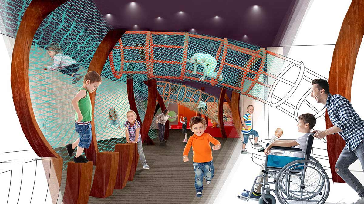 An artist's impression adults and children moving around inside an immersive play space. - click to view larger image