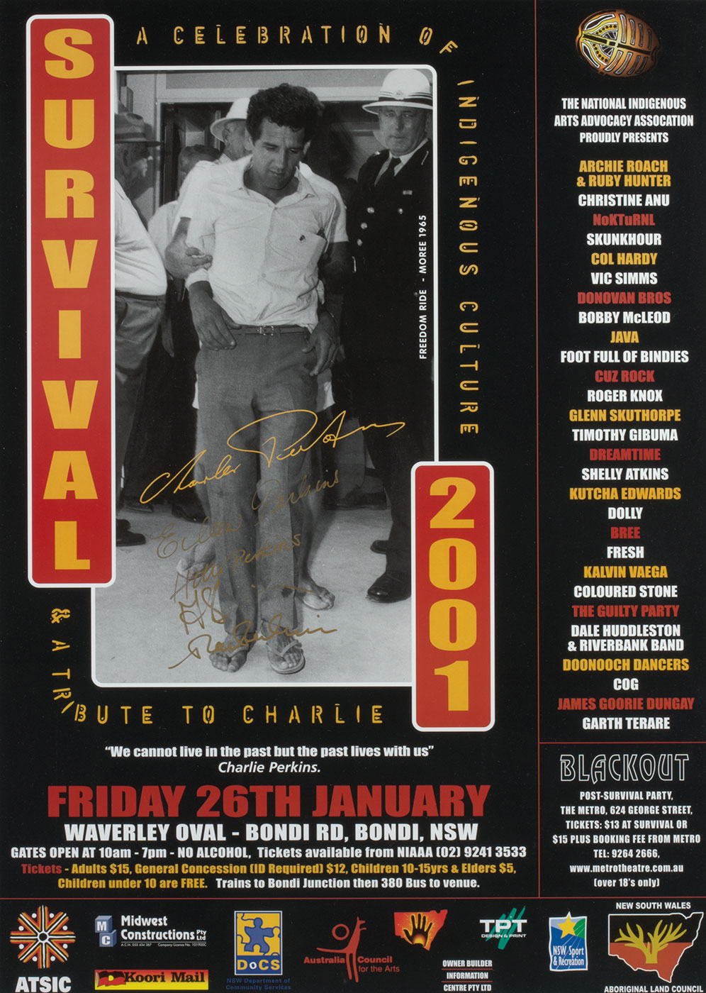 A colour poster featuring a black and white photograph of a man in a white shirt, dark pants and thongs. The photograph has a yellow handwritten signature 'Charlie Perkins' printed across it. Text framing the photograph reads 'SURVIVAL / 2001' 'A CELEBRATION OF INDIGENOUS CULTURE / & A TRIBUTE TO CHARLIE'. The poster includes a list of perfomring artists on the right and sponsor logos along the bottom. - click to view larger image