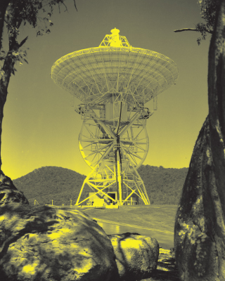 A sepia-toned photo taken in 1960 featuring Honeysuckle Creek tracking station.