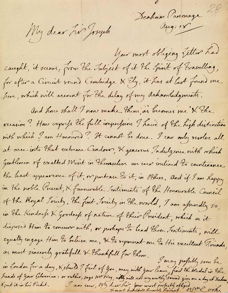 Letter from Eliza Cook to Sir Joseph Banks. - click to view larger image