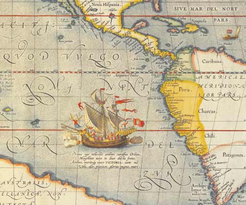 Detail from 'Maris Pacifici,' a coloured map showing a sailing ship off the coast of Peru.