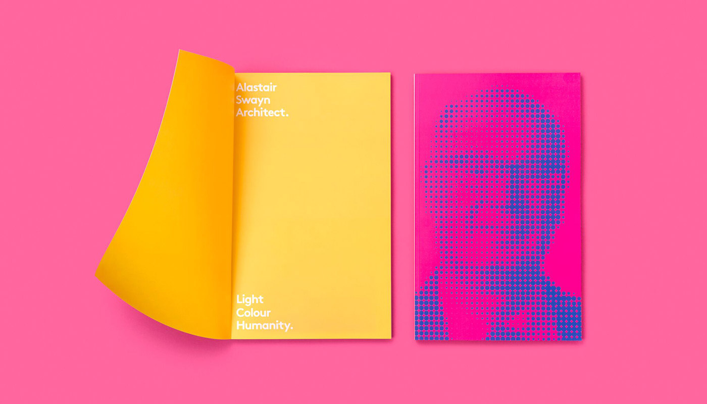 A pink and yellow graphic featuring a man's face.