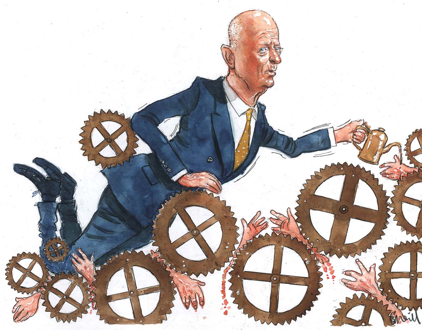 A colour illustration depicting Glenn Stevens in a blue suit amongst a series of clockwork-style wheels, as though he is moving through them. He holds an oil can in his left hand. Seven severed hands are shown caught in amongst the wheels. Mr Steven's expression is one of uncertainty.  - click to view larger image