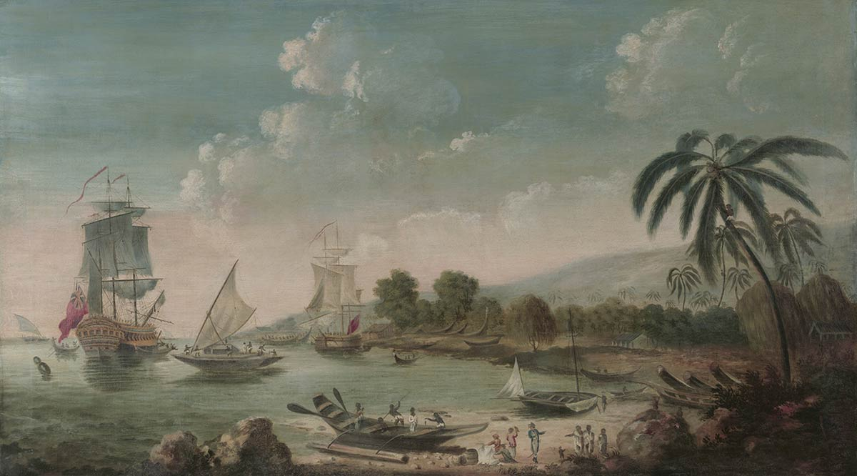 A painting titled 'Discovery and Resolution at an Island in the Pacific', 1777, by John Cleveley.
