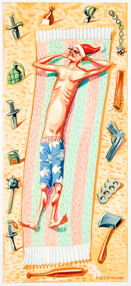 Cartoon of a man lying on his towel at the beach wearing sunglasses and a santa claus hat surrounded by various weapons - click to view larger image