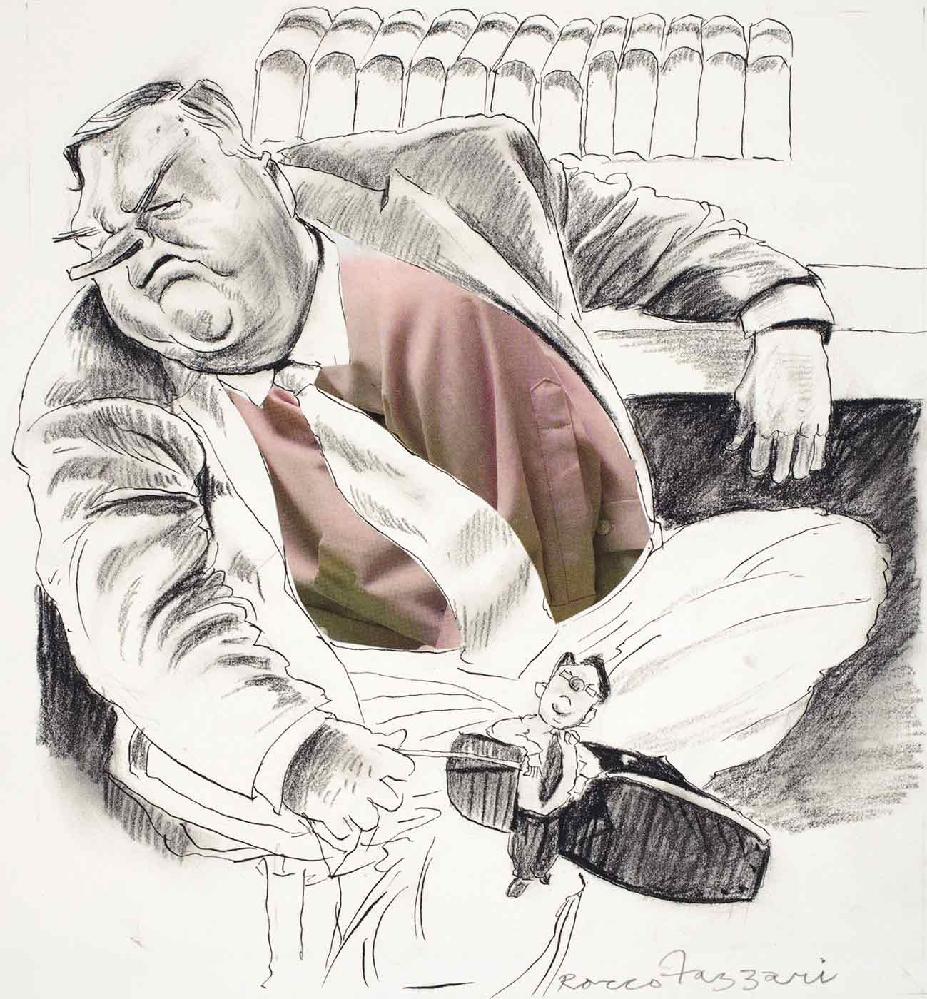Cartoon of Labor party leader Kim Beazley removing a miniature Mark Latham from the sole of his shoe with a stick. - click to view larger image