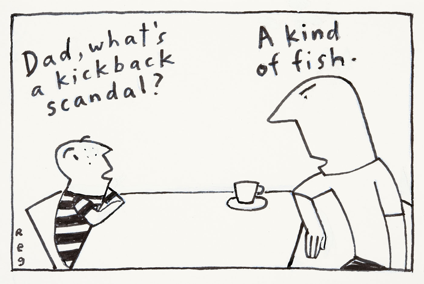 Cartoon of a father explaining to his son that a kickback scandal is a kind of fish - click to view larger image