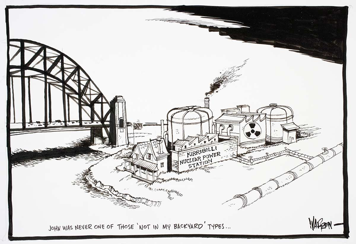 Cartoon of Kirribilli Nuclear Power Station on a little island facing Sydney Harbour Bridge - click to view larger image