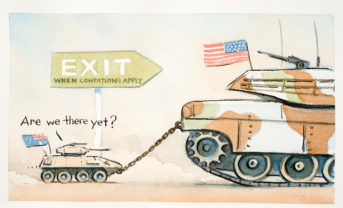 Cartoon of a large American army tank towing a tiny Australian army tank that is asking 'Are we there yet'? - click to view larger image