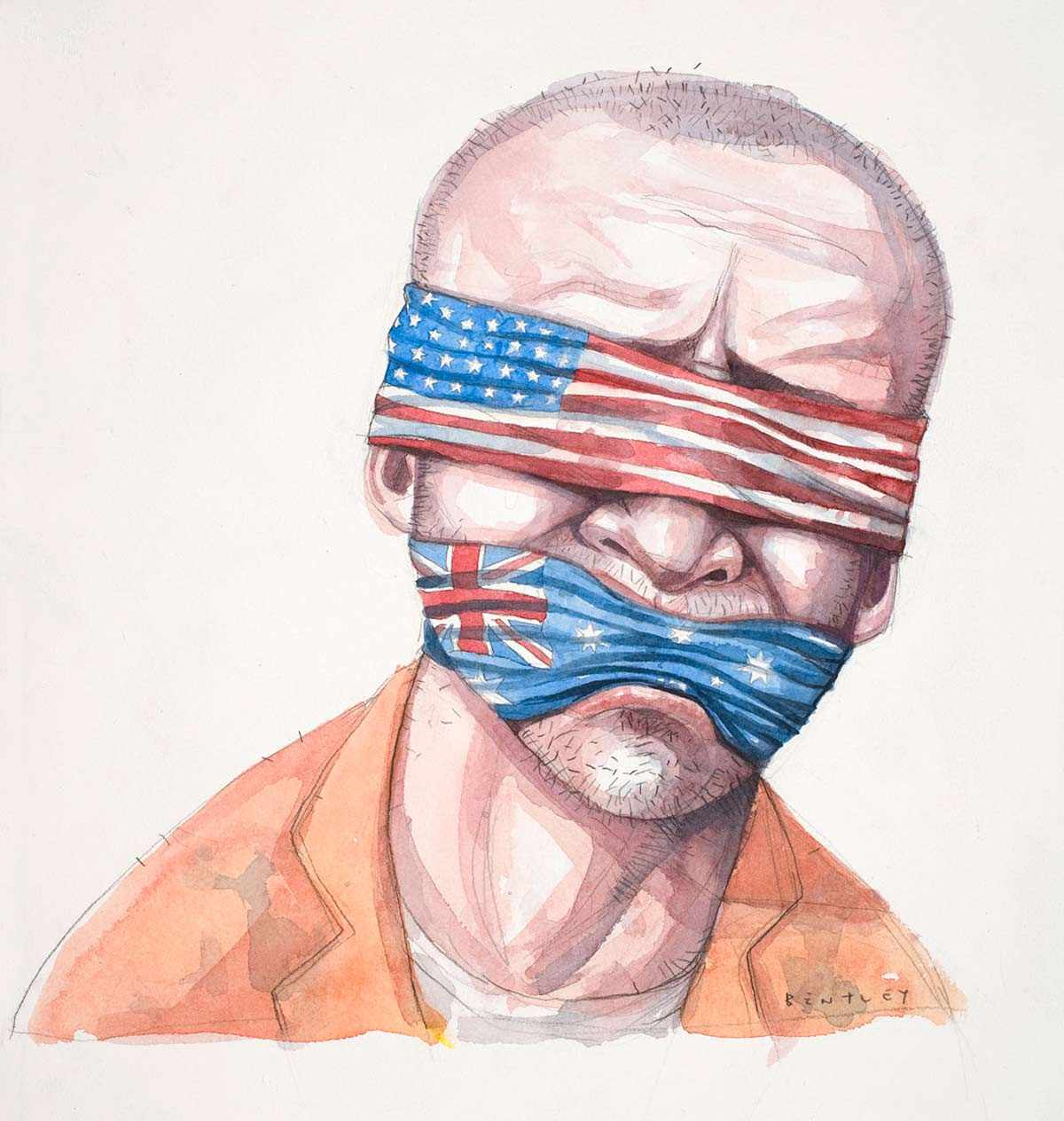 Cartoon of David Hicks blindfolded with an American flag and gagged with an Australian flag - click to view larger image