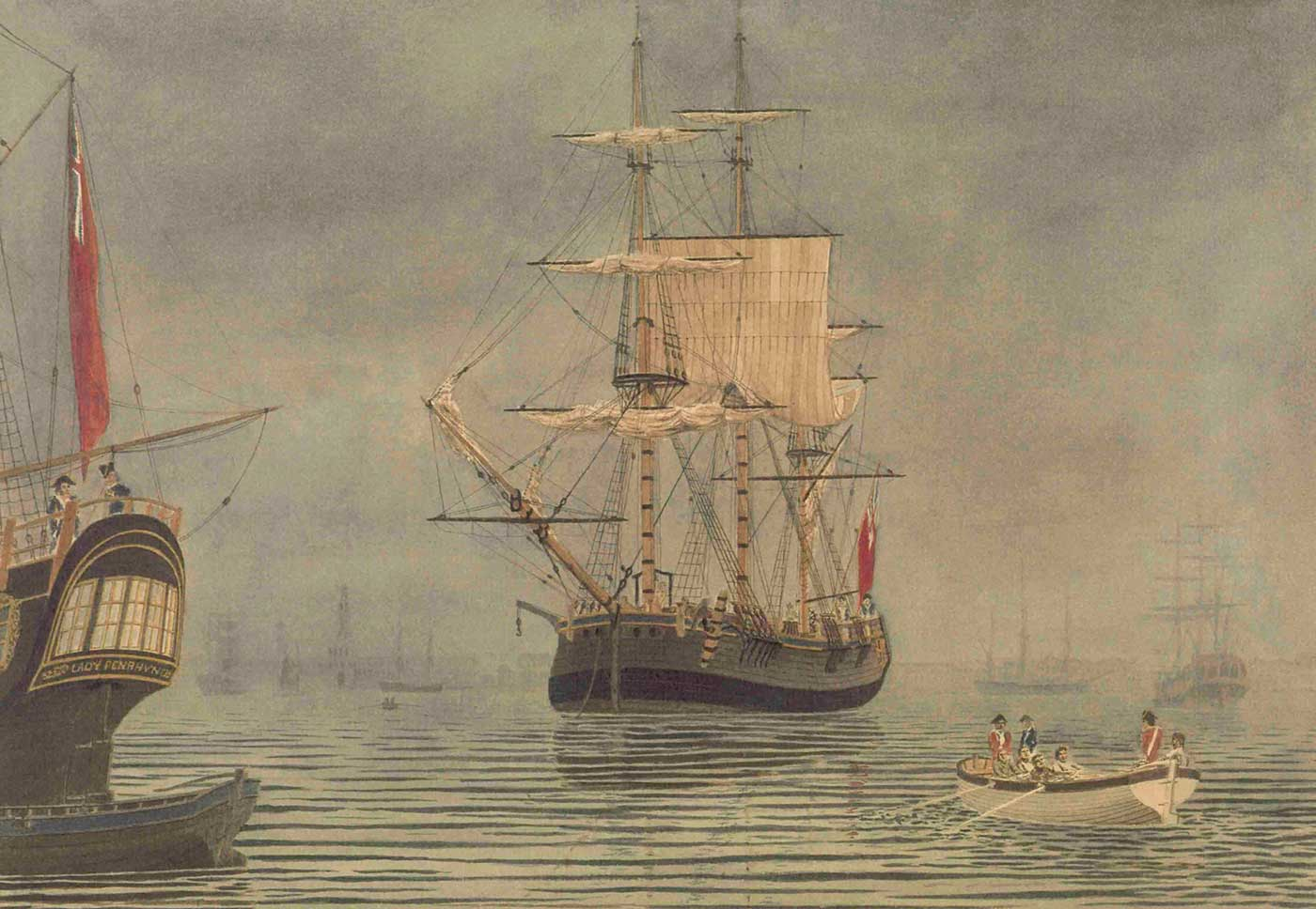 Painting of 18th Century sailing ships in a harbour. - click to view larger image
