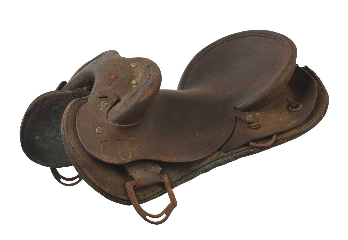 Weathered-looking leather horse saddle. - click to view larger image
