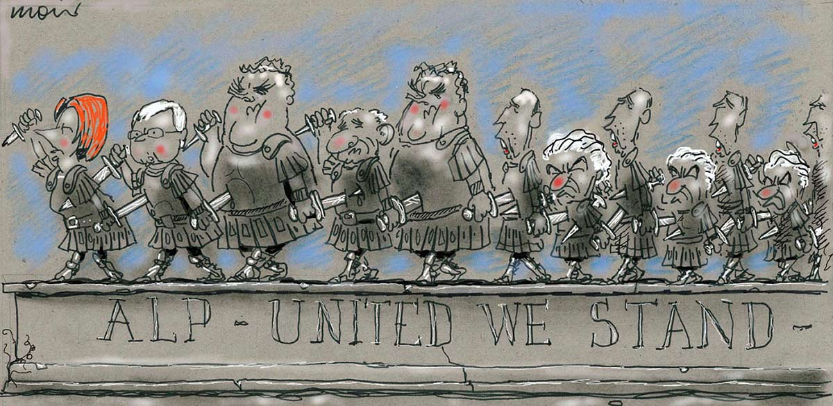 A colour cartoon depicting previous and current Australian Labor Party leaders as Roman soldiers. They all stand in a line, facing the same direction. The line features Paul Keating, Bob Hawke, Kim Beazley, Simon Crean, Kevin Rudd and Julia Gillard. Each carries two knives; one is thrust into the person behind them while the other is thrust into the back of the person in front of them. There are multiple Paul Keatings and Bob Hawkes, and at least two Kim Beazleys. Under the line, written on a stone facade, is 'ALP - United We Stand'.