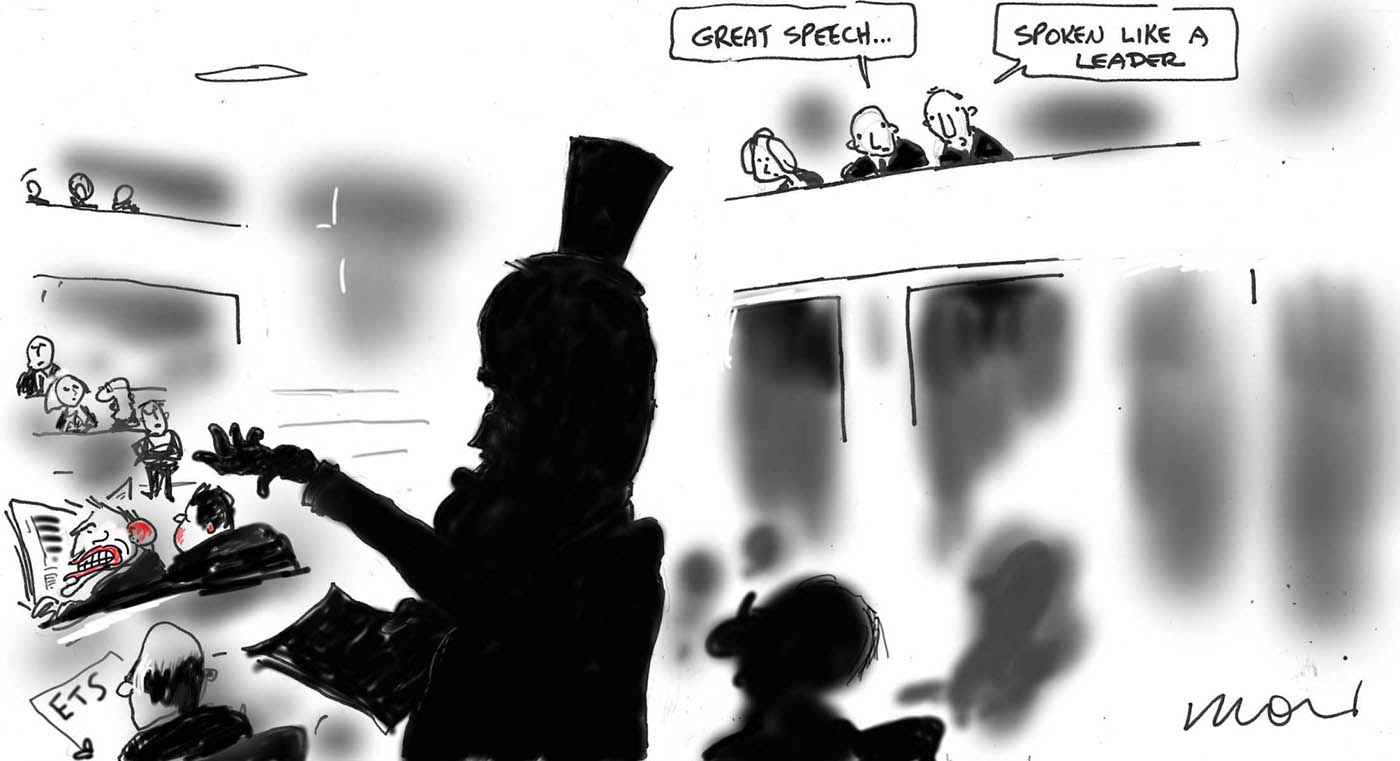 A mostly black and white cartoon depicting the House of Representatives in the Australian Parliament. In the foreground, in silhouette, is Malcolm Turnbull. He wears a top hat and is making a speech. In the backgound, some people can be seen in the public gallery. Two of them are talking; one says 'Great speech ...' and the other says 'Spoken like a leader'. In the left middle ground sits Tony Abbott, with red lips and ears.  - click to view larger image