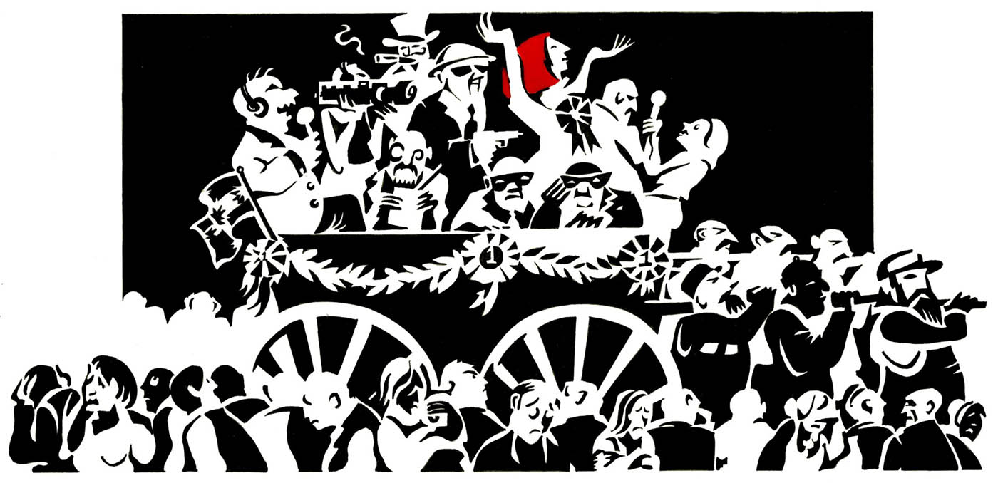 A mostly black and white cartoon depicting Julia Gillard in a cart being pulled through a crowd. She stands triumphant, with her arms aloft and her red hair emphasised. Also in the cart are media representatives, note-takers, two masked men, a man in an 'Uncle Sam'-style hat and a man in a white hat. The cart appears to be pulled by several large, bearded men. In the foreground, the faces of the crowd all register despair, sadness and melancholy.  - click to view larger image