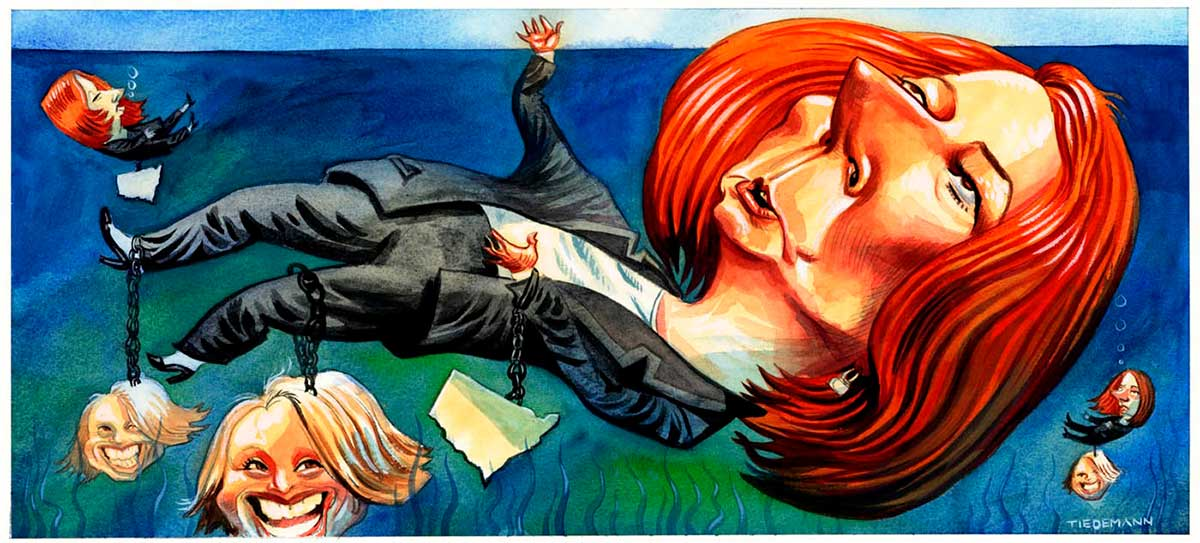 A colour cartoon depicting Julia Gillard floating in water, just under the surface. She is weighed down by several weights, around her wrist, leg and ankle. Two of the weights are the head of Kristina Keneally, while the other is in the shape of New South Wales. Gillard reaches up above the surface of the water with one hand. Nearby, other Gillards sink down, attached to New South Wales or Kristina Keneally weights. - click to view larger image
