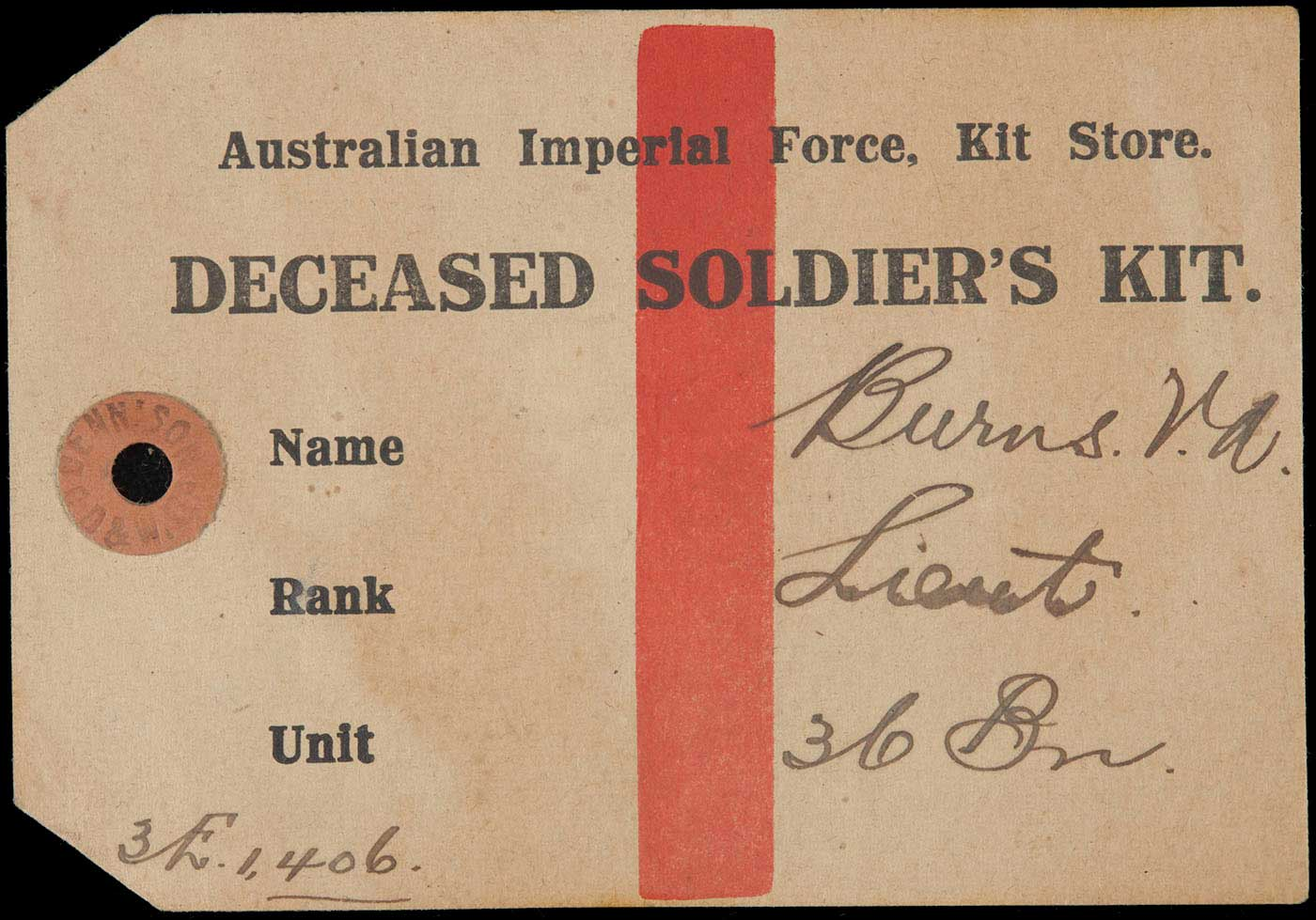 Tag with featuring the text 'DECEASED SOLDIER'S KIT'. - click to view larger image
