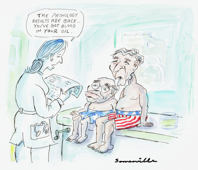 Cartoon of John Howard and George Bush in a doctors office. They both sit shirtless on a bed. The doctor tells them 'The pathology results are back. You've got blood in your oil.' - click to view larger image
