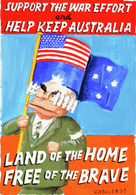 This cartoon depicts John Howard holding an Australian flag with the Union Jack replaced with the flag of the United States, and wearing blinders that look like white picket fences. Above and below him is written 'Support the war efforet and help keep Australia land of the home, free of the brave.  - click to view larger image