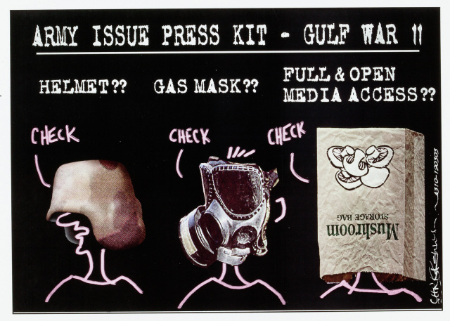 A cartoon titled 'Army issue press kit - Gulf war II'. There are three sections. The first has written 'Helmet??', and below a head with a helmet covering the eyes. The next section,