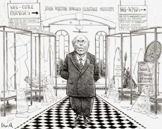 A cartoon of John Howard standing in a museum dedicated to him. Signs above direct visitors to 'Non-core promises' and 'Non-WMDs'. - click to view larger image