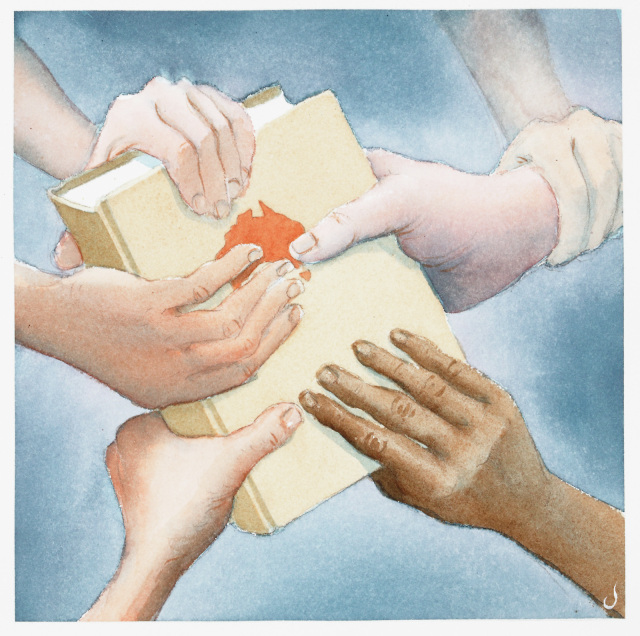 A cartoon of many hands all grabbing a book with Australia on the cover.  - click to view larger image