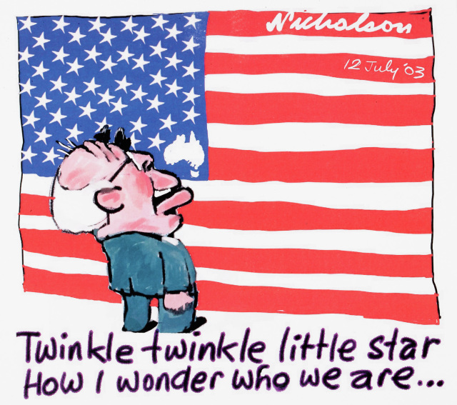 A cartoon of John Howard looking at an American flag, with a tiny Australia included as one of the stars. He says 'Twinkle twinkle little star, how I wonder who we are...'. - click to view larger image