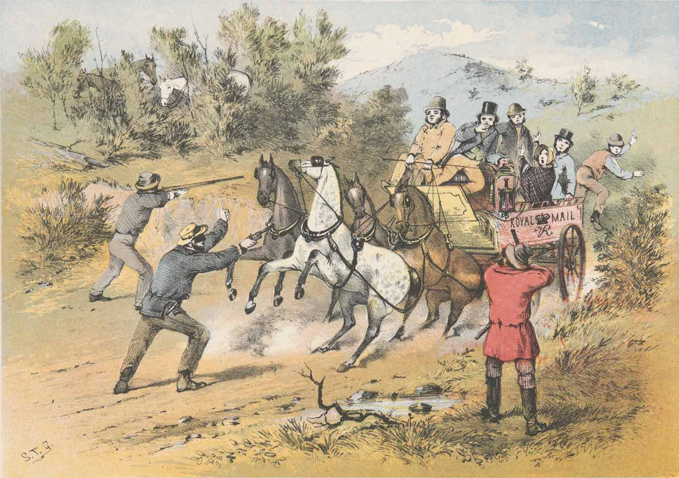 Colour sketch showing three men with guns pointed at an open carriage being pulled by four horses. Five passengers recoil at the men with guns. A sixth is jumping from the back of the carriage.