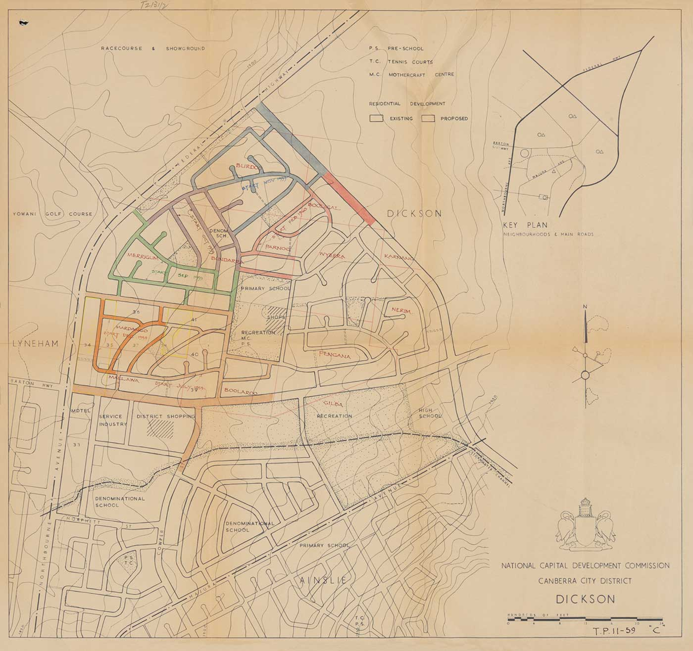 The planned overlay of suburban streets across the paddocks of the Dickson Experiment Station. - click to view larger image