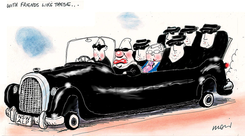 A long black, convertible limousine with the roof down fills the frame of the cartoon. The licence plate on the front of the car says 'NSW ALP'. The car carries seven men, six dressed in black and wearing sunglasses. Kevin Rudd, is jammed into the middle and dressed in a blue suit with a pink tie. Above the car floats the text 'with friends like these ...'. - click to view larger image
