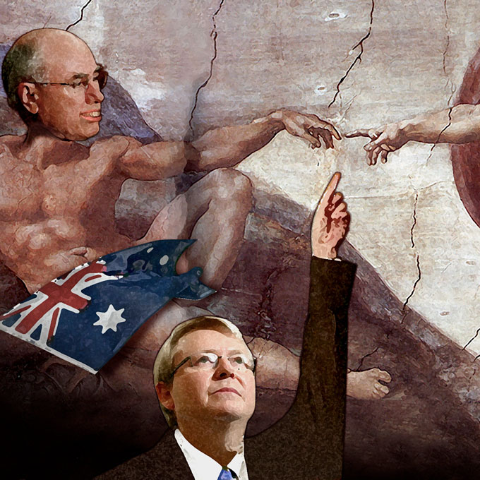 Colour illustration parodying Michelangelo's 'Creation of Adam'. John Howard's head has been painted on top of Adam's naked reclining form. An Australian flag is draped over his nether regions. Kevin Rudd is in the centre front, wearing a suit and tie. His left arm is raised and pointing towards the convergence of Howard and God's fingers. - click to view larger image