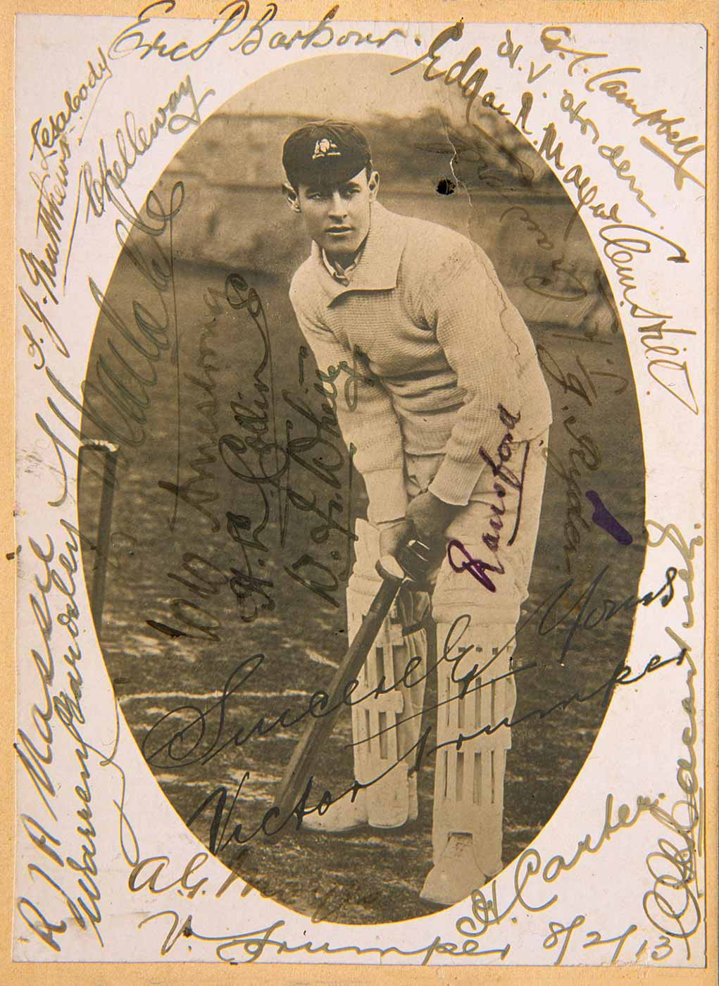 An autographed photo of Victor Trumper.