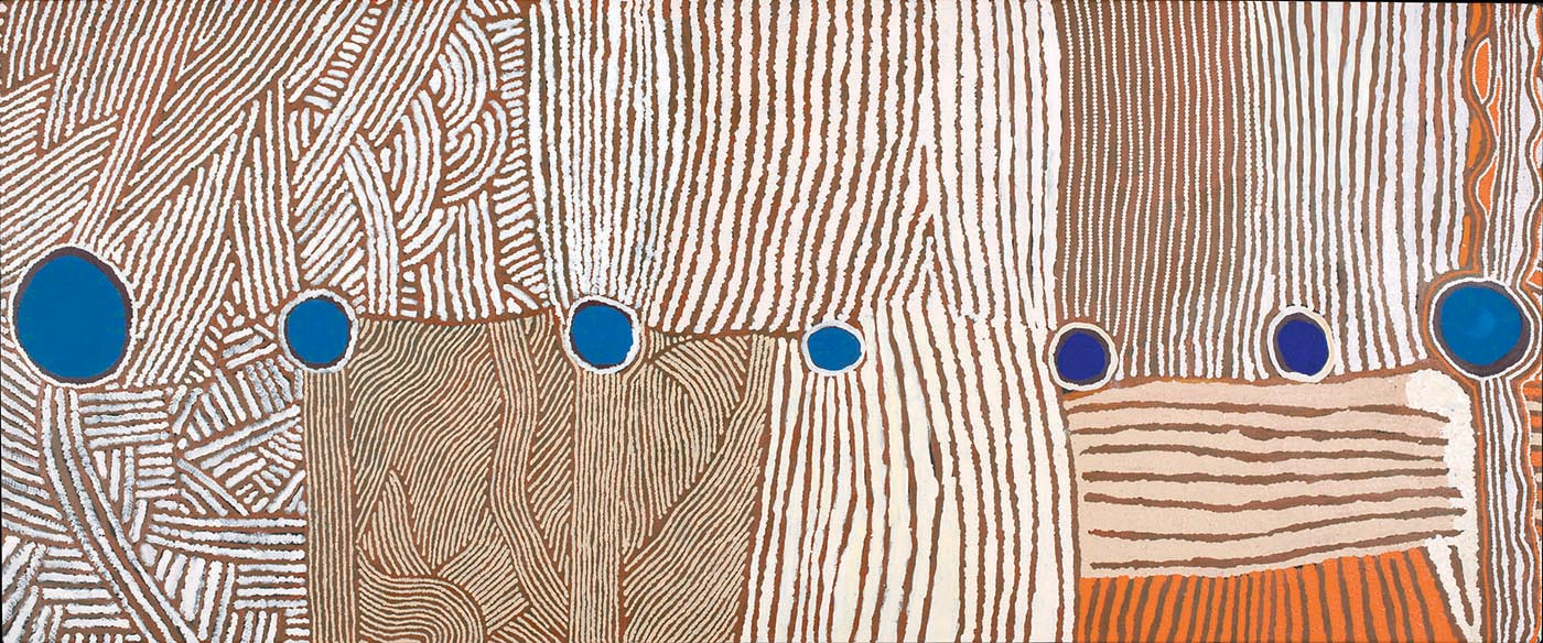 An acrylic circle and line painting on linen, featuring seven blue circles painted along the artwork at equidistant points. The rest of the painting illustrates clusters of orange, brown, tan and white lines.