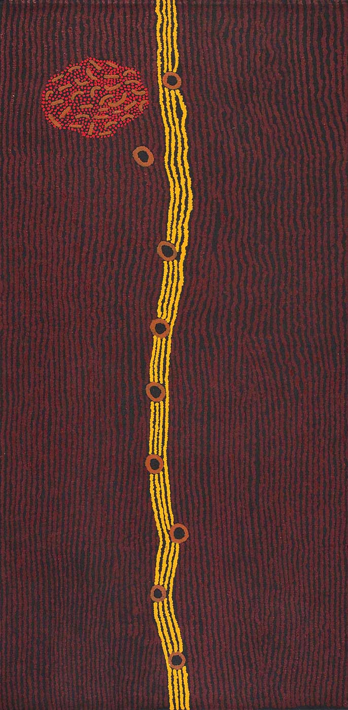 A vertically striped painting on brown linen in black and maroon with four stripes in yellow down the centre. The strip is punctuated by brown and black circles. Top left is an oval filled with small brown boomerang-like shapes and red dots. - click to view larger image