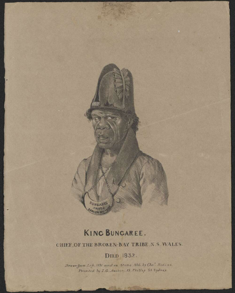Coloured lithograph of a man in nineteenth century clothing and the title 'King Bungaree' beneath.