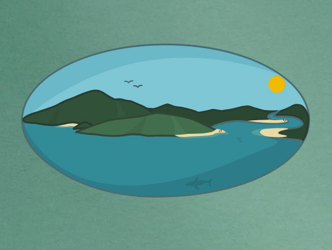 Digital drawing of an island surrounded by sea. - click to view larger image
