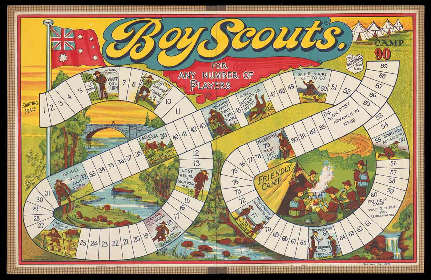 A game board titled 'Boy Scouts' with 90 numbered squares and images of various campsites. - click to view larger image