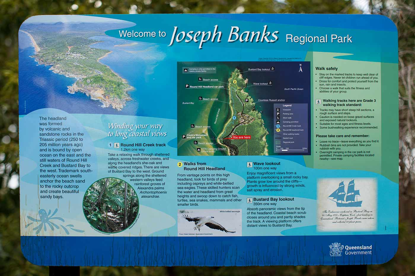Colour photo of a tourist sign by the Queensland Government with the title 'Welcome to Joseph Banks Regional Park'. It provides a map and legend, descriptive text and images. - click to view larger image